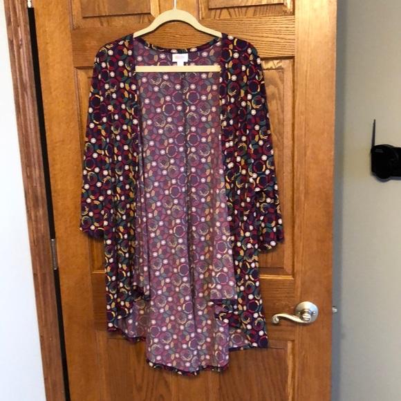 Lularoe Purple Multi Colored Lindsay Kimono NWOT
